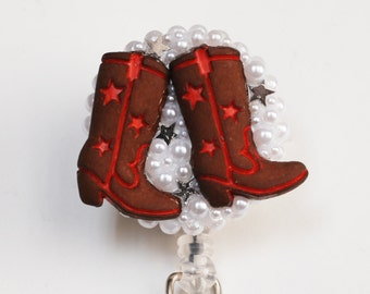cowgirl Boots ID Badge Reel - RN ID Badge Holder - Zipperedheart