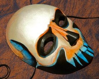 Ghoul Day of the Dead Gentlemans Mask Dia de los Muertos Orange Blue