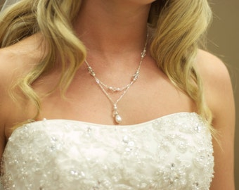 Bridal Layered Teardrop  Simulated Pearl  Pendant Necklace with Crystals from Swarovski