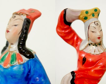 Beautiful Asian Couple with Vibrant Colors Hand Painted from Occupied Japan