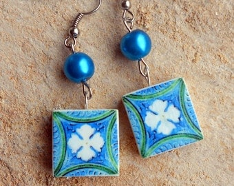 Portugal  Antique Tile Replica Earrings,  Aveiro Blue and Green - waterproof and reversible 392a