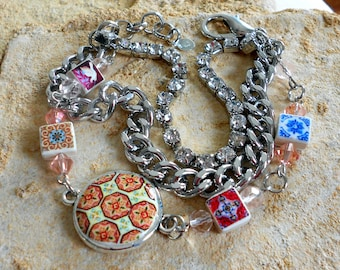 Portugal Antique Azulejo Tile Rhinestone Bracelet - Esmoriz, Porto, Valega, Ovar and Dove Fresco from Sintra Palace  ( Abandoned Home)