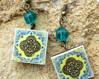 Portugal AntiqueTile Replica Earrings from OVAR - Geometric (see photo of actual Facade)  Waterproof and Reversible 564