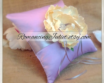 Romantic Bloom Ring Bearer Pillow with Crystal Rhinestone Accents.. Shown in lilac/silver gray/ivory