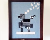 Framed Embroidery Art Wall Hanging - Horace's Dream - icy blue and linen white felt with black string design - all hand sewn - OOAK