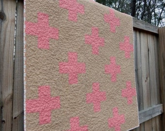 SALe Crib Size Quilt, Super Mod Plus Quilt, coral and tan, Girl quilts, comfy cozy handmade crib bedding READY TO SHIP