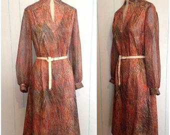 Paint Stroke Print 70's Sheath Dress