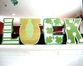 LUCK St Patricks Day Banner - Shamrock Stripes Horse Shoe and Polka Dots in Green Glitter