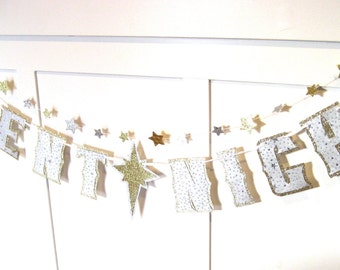 SILENT NIGHT Banner or Christmas Tree Garland - silver stars on gold glitter