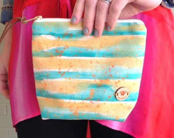 Standing Striped Clutch in Heavy Canvas Hand Painted Bright Colors, Cosmetic Pouch - Alki