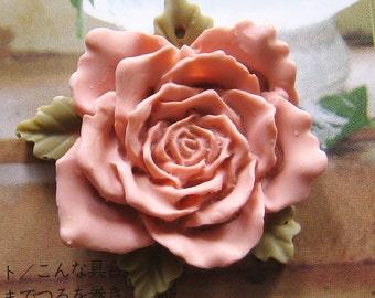 Large Vintage Pink Rose Cabochon - 2 pcs (CA812-A)