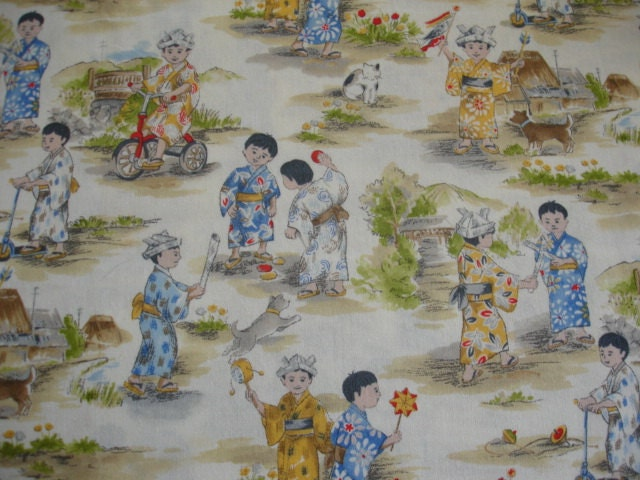 Asian children fabric otokonoko little boys playing michael for Little boy fabric