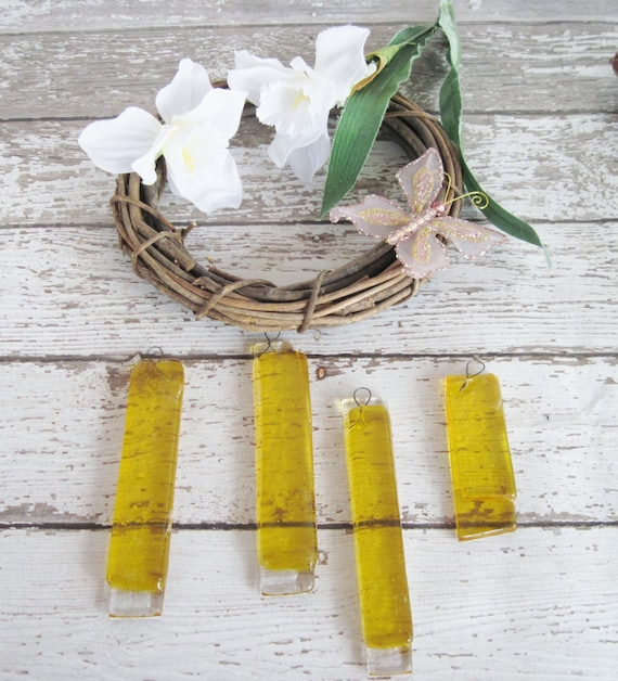 Basket Making Supplies North Carolina : Yellow fused glass supplies for crafts from laurelarts on