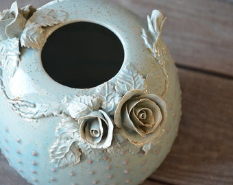 Stoneware Vasein blue  with pink dots and roses  -MADE TO ORDER -  Wheel thrown - Stoneware (grès) Vase