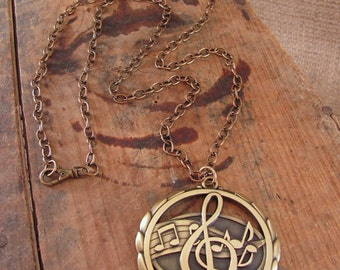 Upcycled Jewelry - Music Award Medal Necklace - Treble Clef Pendant - Music Pendant - Brass Music Note Long Length Pendant Necklace