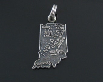 Vintage Indiana State Cut Out Sterling Silver Charm