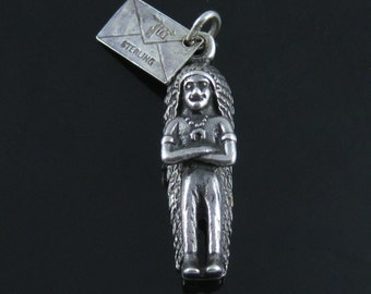 Vintage Bell Trading Post Sterling Silver Indian Chief Charm Traverse City Michigan