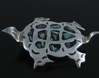 Vintage Mexico Sterling Silver Abalone Shell Turtle Pin