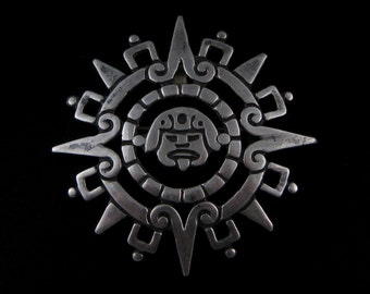 Vintage Taxco Sterling Silver Aztec Mayan Calender Sun God Pendant Brooch Signed ERE