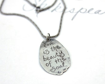SALE . silver love quote necklace . inspirational quote jewelry . recycled sterling silver pendant chain . ready to ship gift peacesofindigo