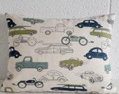 Retro Rides Cars and Trucks Pillow Cover Boys Room Decor Den Decor 5 Sizes