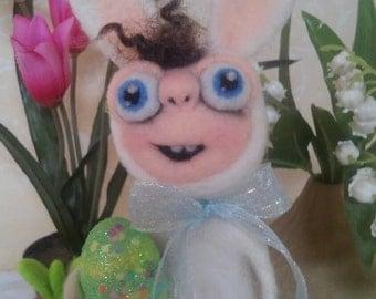 Easter Bunny Boy OOAK Fiber Sculpture