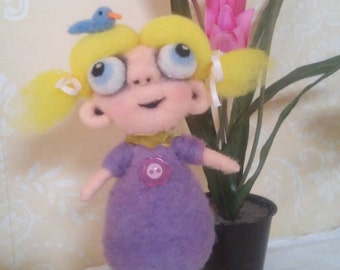 Girl with Blue Bird OOAK needle felted sculpture
