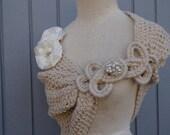 Bridal shawl, wedding shawl, bolero jacket, handmade flowers, knit shawl, crochet shawl, womens gift, bridesmaid gift, bridal bolero, gift