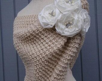 Handmade shawl, handmade flower, gift, wedding accessories,  bridal accessories, bridal shawl, knitting shawl, wedding gown, wedding shawl