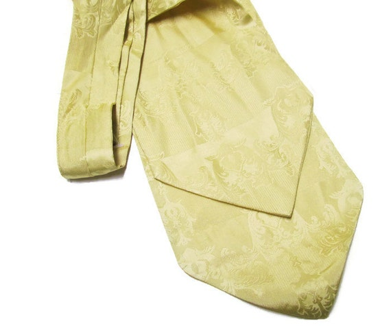 Silk Ascot Cravat Brocade Vintage New Nectie Champagne Gold Pale Pastel Yellow Mens Gift Wedding Accessory Silk Tie Sash
