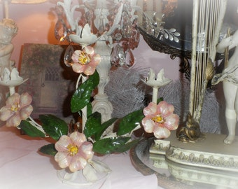 SALE!  Italian tole candelabra's open PINK wild roses Italy  pair of tole candle holders Shabby Cottage