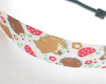 Woodland Hedgehogs Elastic Headband / Adult Headband / Woodland Headband / Woodland / Hedgehog Headband / Hedgehog / Elastic Headband