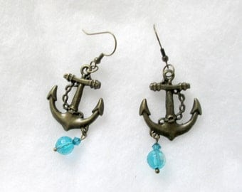 Nautical Brass Anchor with Blue Crystals Dangle Earrings