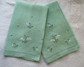 Linen Guest Towels  with Floral Embroidery Set of Two Mint Green