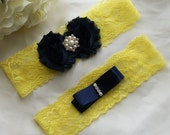 Yellow and Navy Wedding,Something Blue,Bright Yellow Garter,Wedding Garter,Lace Garter,Plus Size Garter,Yellow Garter,Lace Garter