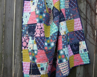 SALE******Cotton and Steel Quilted Throw Tumbler Lap Quilt  Quilts made from Cotton and Steel fabrics Thimble Lap Quilt