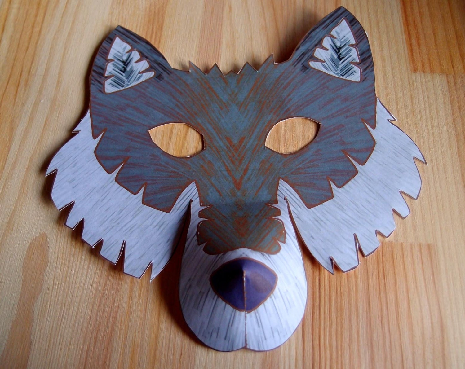 Wolf mask printable craft kit kid 39 s craft activity for Mask craft for kids
