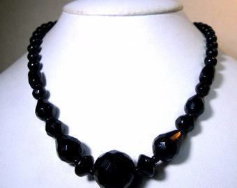 PETITE Black Glass Necklace, 1950s Classic Single Strand Faceted Beads, Dainty in Size
