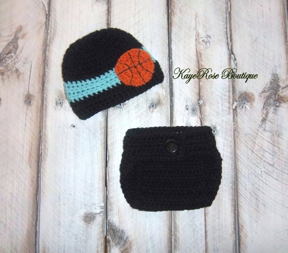 Newborn Baby Boy Crochet Basketball Hat and Diaper Cover Set