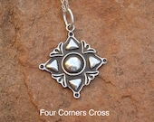 CX23 Four Corners Cross Sterling Silver Southwestern Native Style Pendant or Charm