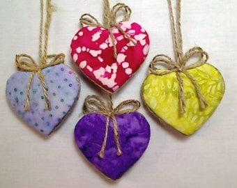 Batik  Heart Ornaments   Home Decor   Holidays   Birthday Decoration   Party Favors   Tree Ornament   Set/4   Handmade   #2