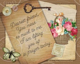 Dearest Friend / Printable Collage Art / Scripture Prayer Christian Religious / Printable 8x10 Inch Digital Collage - Download Digital JPG