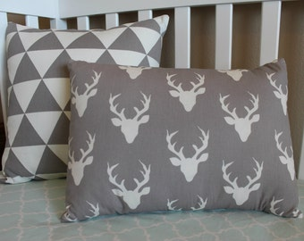 Decorative Pillow - Triangles or Deer Head - Grey and off-white pillow covers