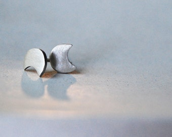 Eclipse Studs- Handcrafted Mini Eclipse Post Earrings in Brushed Sterling Silver- Moon Shape Post Earrings