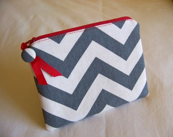 PEN & PENCIL Pouch Large zippered pouch zippered bag. Grey Chevron with Red accents