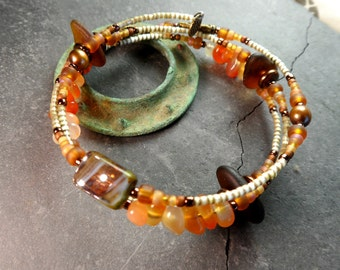 Brown sea / beach glass adjustable wrap around bracelet  with carnilian stones  warm summer  ecochic fashion