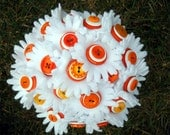 White And Orange Daisy Button Bouquet