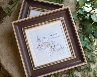 8x8  Aubergine Cream and Red Antique Style Photo Frame