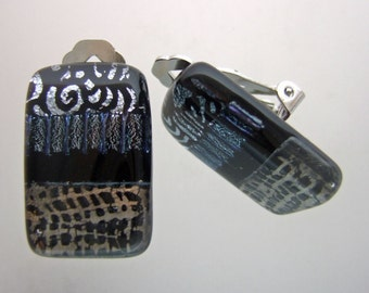 Silver Abstract Clip Earrings- Ready to Ship, Handmade Fused Glass Jewelry from North Carolina