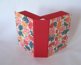 Clamshell  box - 5x7x2in. - royal red and multi-coloured lotus katazome - Ready to ship